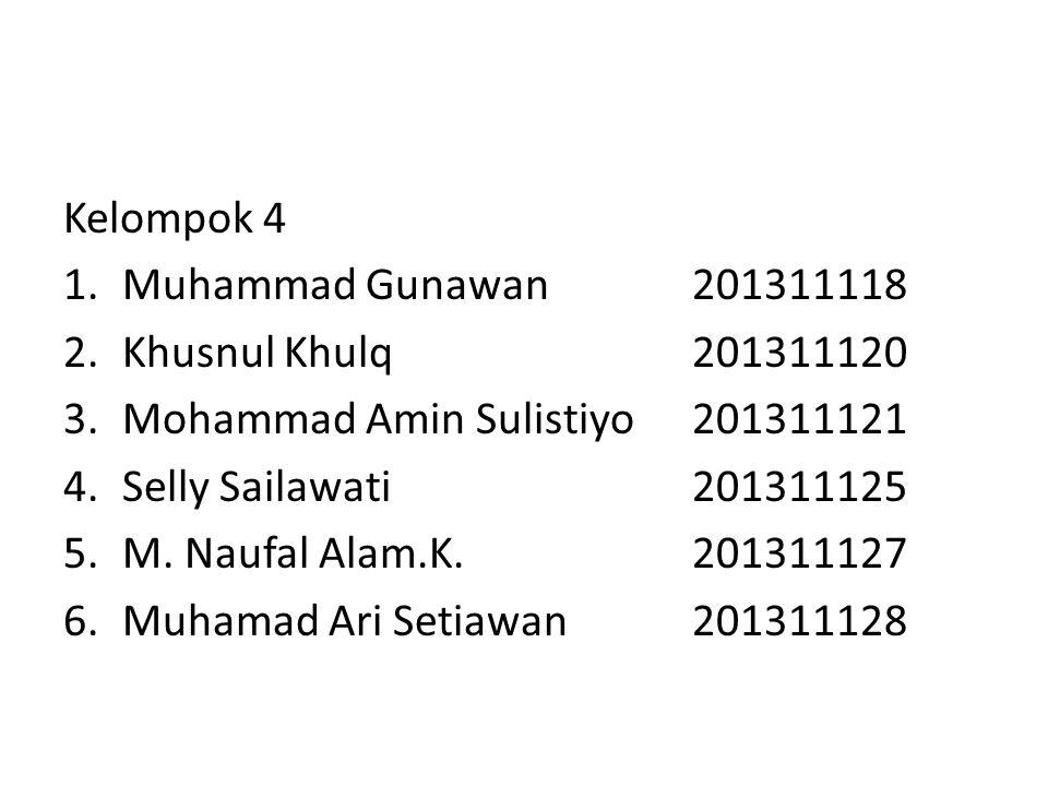 Kelompok 4 1.Muhammad Gunawan201311118 2.Khusnul Khulq201311120 3.Mohammad Amin Sulistiyo201311121 4.Selly Sailawati201311125 5.M.