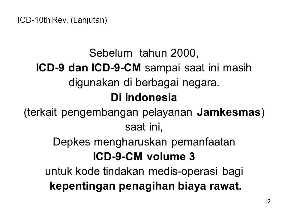 ICD-10th Rev. (Lanjutan) Sebelum tahun 2000, ICD-9 dan ICD-9-CM sampai saat ini masih digunakan di berbagai negara. Di Indonesia (terkait pengembangan