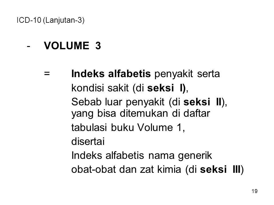 ICD-10 (Lanjutan-3) -VOLUME 3 =Indeks alfabetis penyakit serta kondisi sakit (di seksi I), Sebab luar penyakit (di seksi II), yang bisa ditemukan di daftar tabulasi buku Volume 1, disertai Indeks alfabetis nama generik obat-obat dan zat kimia (di seksi III) 19