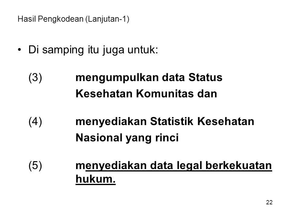 Hasil Pengkodean (Lanjutan-1) Di samping itu juga untuk: (3)mengumpulkan data Status Kesehatan Komunitas dan (4)menyediakan Statistik Kesehatan Nasional yang rinci (5)menyediakan data legal berkekuatan hukum.