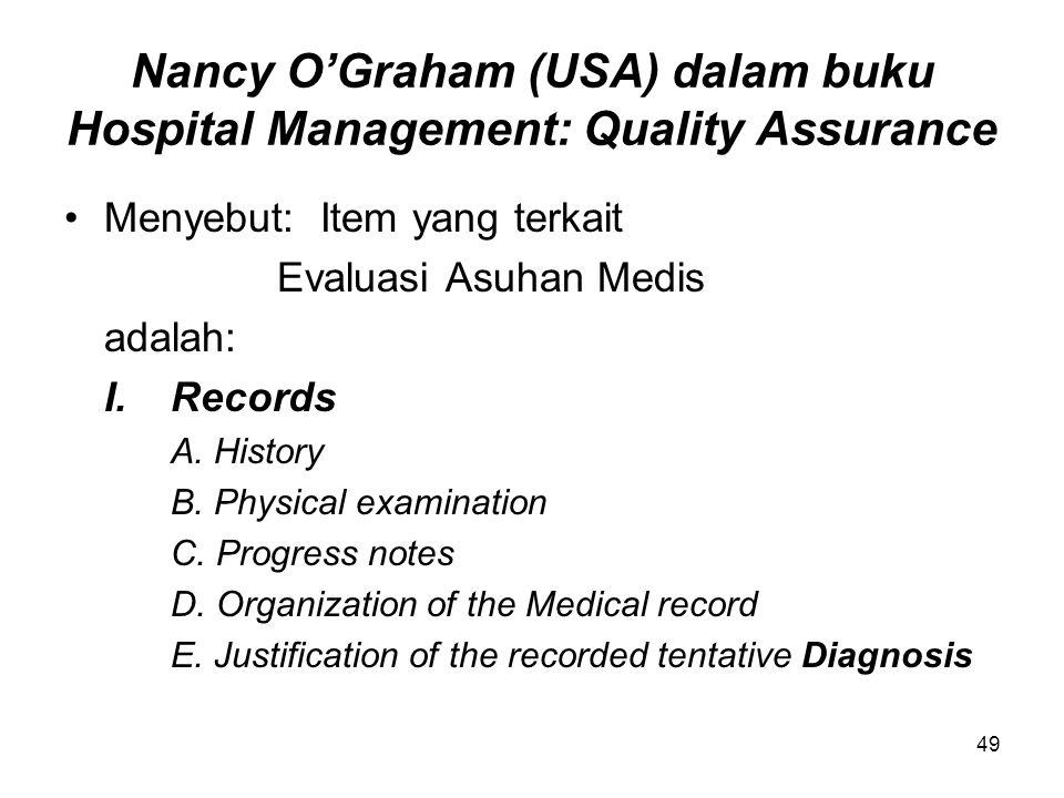 Nancy O'Graham (USA) dalam buku Hospital Management: Quality Assurance Menyebut: Item yang terkait Evaluasi Asuhan Medis adalah: I.Records A.