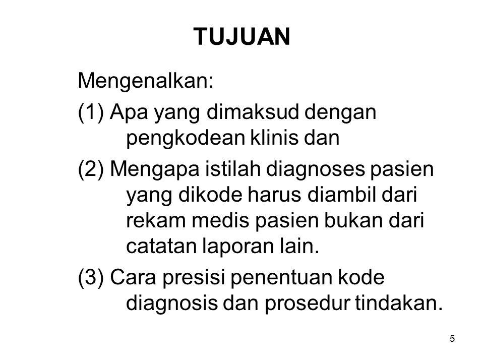TUJUAN Mengenalkan: (1) Apa yang dimaksud dengan pengkodean klinis dan (2) Mengapa istilah diagnoses pasien yang dikode harus diambil dari rekam medis pasien bukan dari catatan laporan lain.