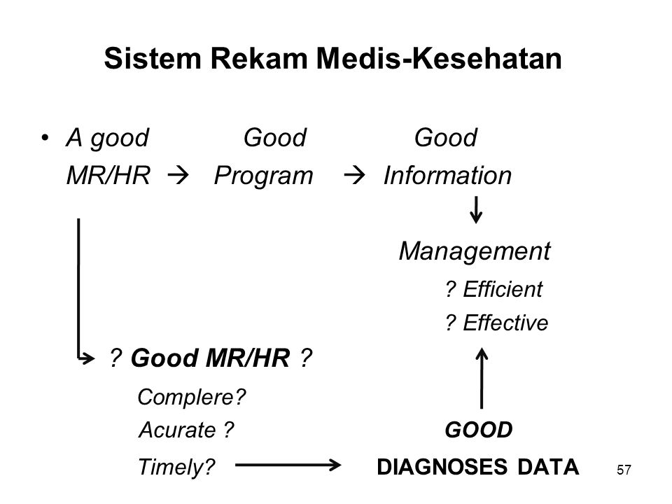 Sistem Rekam Medis-Kesehatan A goodGood Good MR/HR  Program  Information Management ? Efficient ? Effective ? Good MR/HR ? Complere? Acurate ?GOOD T