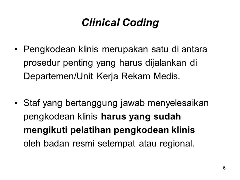 Clinical Coding Pengkodean klinis merupakan satu di antara prosedur penting yang harus dijalankan di Departemen/Unit Kerja Rekam Medis. Staf yang bert