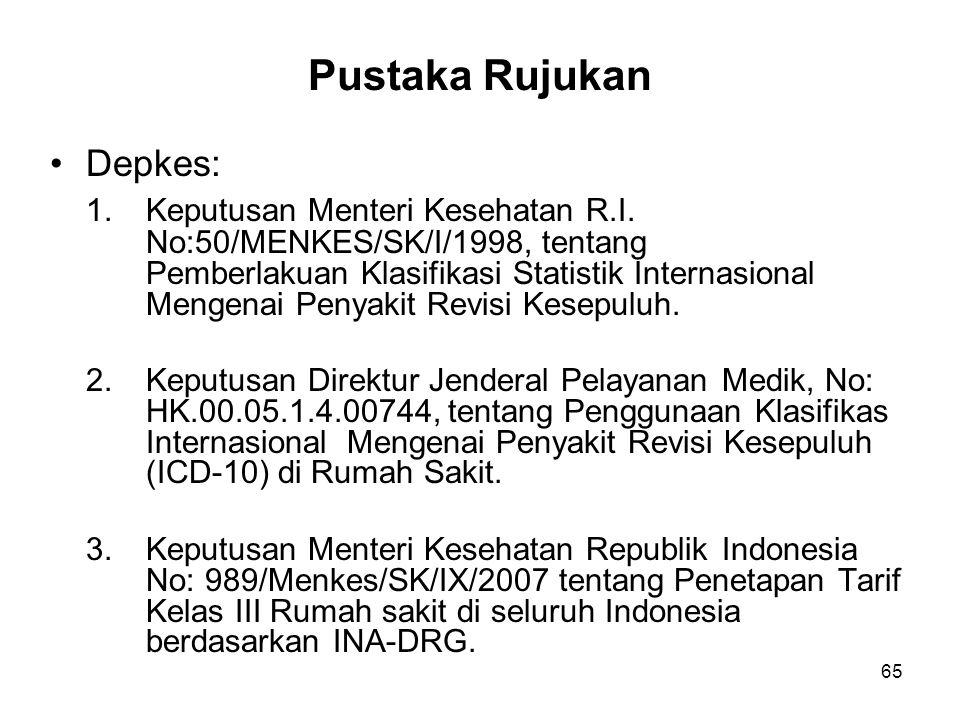 Pustaka Rujukan Depkes: 1.Keputusan Menteri Kesehatan R.I. No:50/MENKES/SK/I/1998, tentang Pemberlakuan Klasifikasi Statistik Internasional Mengenai P