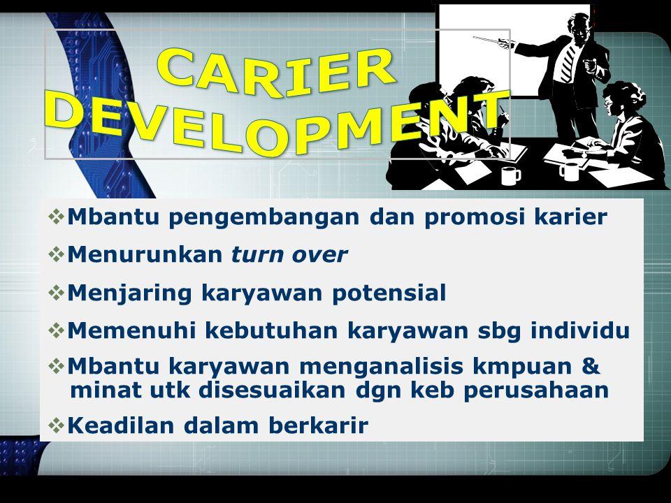 Tujuan & Manfaat Pelatihan & Pengembangan  Meningkatkan produktivitas  Meningkatkan mutu  Meningkatkan semangat kerja  Menarik & menahan tenaga ke
