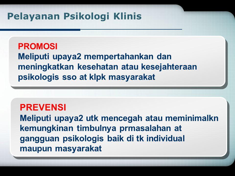 TERAPAN PSIKOLOGI KLINIS  Aktivitas clinical  Terapi / treatment  Assessment  Pengajaran dan supervisi clinical  Penelitian  Konsultasi  Admini