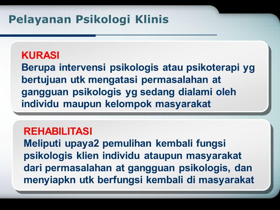 PROMOSI Meliputi upaya2 mempertahankan dan meningkatkan kesehatan atau kesejahteraan psikologis sso at klpk masyarakat Pelayanan Psikologi Klinis PREV
