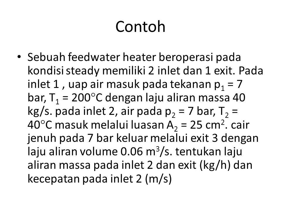 Contoh Sebuah feedwater heater beroperasi pada kondisi steady memiliki 2 inlet dan 1 exit. Pada inlet 1, uap air masuk pada tekanan p 1 = 7 bar, T 1 =