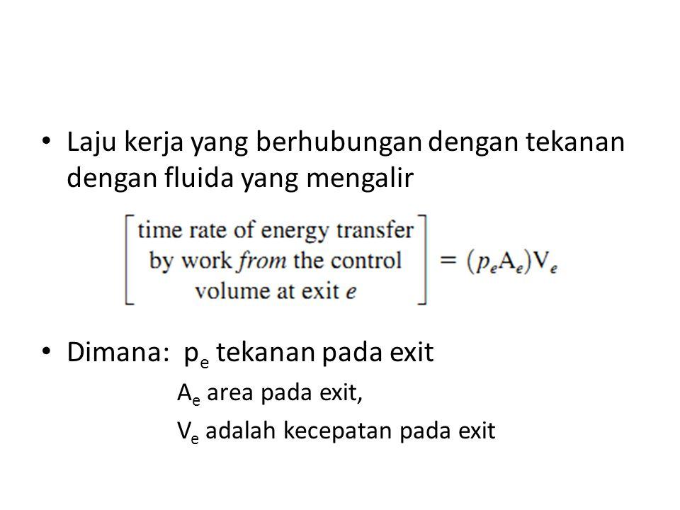 Laju kerja yang berhubungan dengan tekanan dengan fluida yang mengalir Dimana: p e tekanan pada exit A e area pada exit, V e adalah kecepatan pada exit
