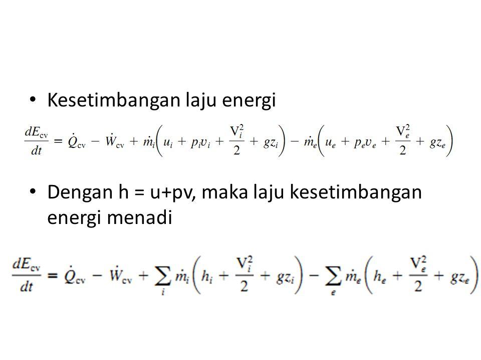 Kesetimbangan laju energi Dengan h = u+pv, maka laju kesetimbangan energi menadi