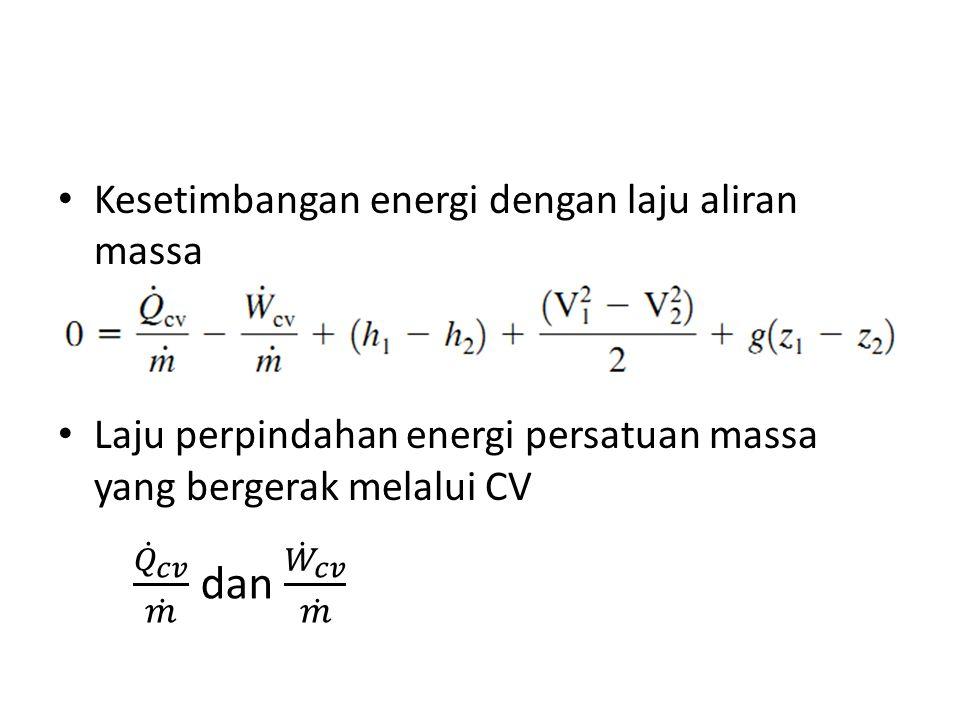 Kesetimbangan energi dengan laju aliran massa Laju perpindahan energi persatuan massa yang bergerak melalui CV