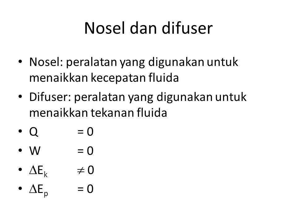 Nosel dan difuser Nosel: peralatan yang digunakan untuk menaikkan kecepatan fluida Difuser: peralatan yang digunakan untuk menaikkan tekanan fluida Q = 0 W= 0  E k  0  E p = 0
