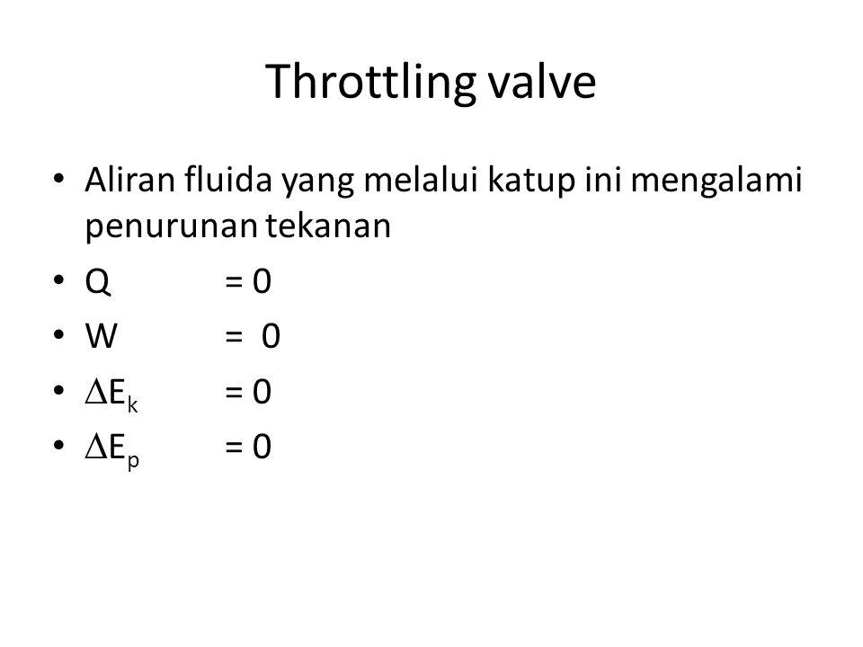 Throttling valve Aliran fluida yang melalui katup ini mengalami penurunan tekanan Q = 0 W= 0  E k = 0  E p = 0