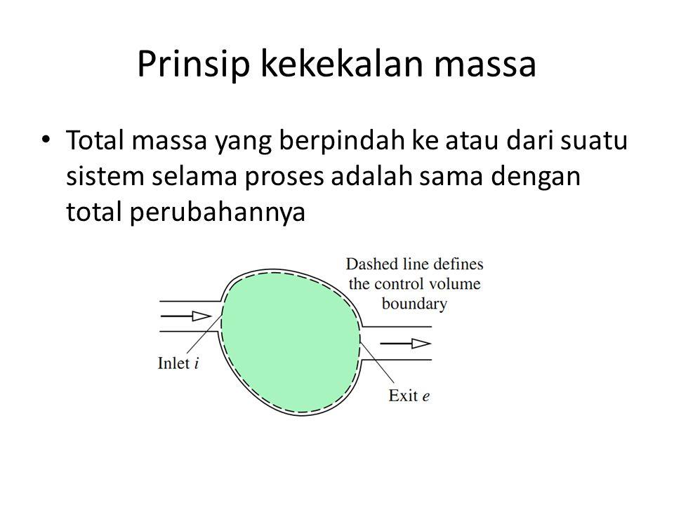 Prinsip kekekalan massa Total massa yang berpindah ke atau dari suatu sistem selama proses adalah sama dengan total perubahannya