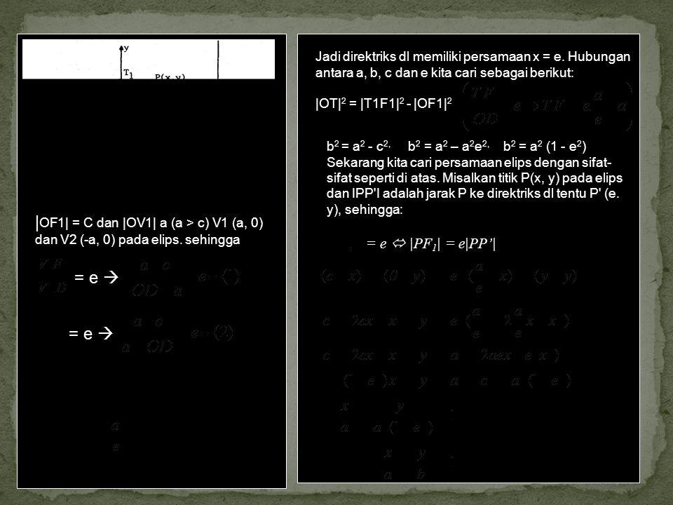 | OF1| = C dan |OV1| a (a > c) V1 (a, 0) dan V2 (-a, 0) pada elips. sehingga = e  Dari (1) dan (2) kita peroleh C = ae dan |OD| =. Jadi direktriks dl