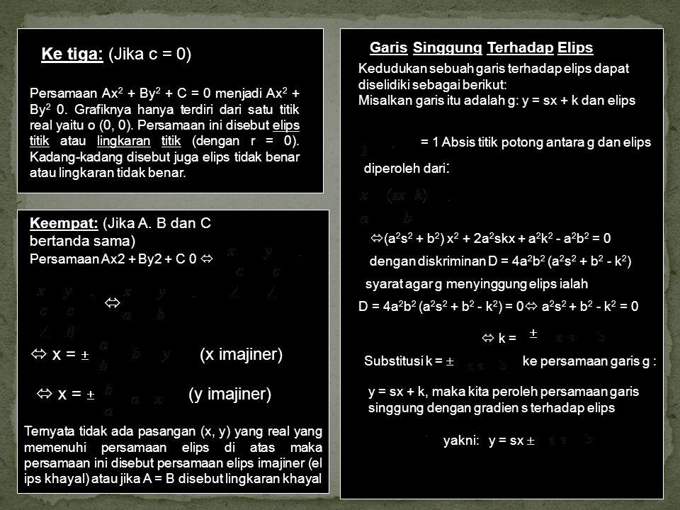 Ke tiga: (Jika c = 0) Persamaan Ax 2 + By 2 + C = 0 menjadi Ax 2 + By 2 0. Grafiknya hanya terdiri dari satu titik real yaitu o (0, 0). Persamaan ini