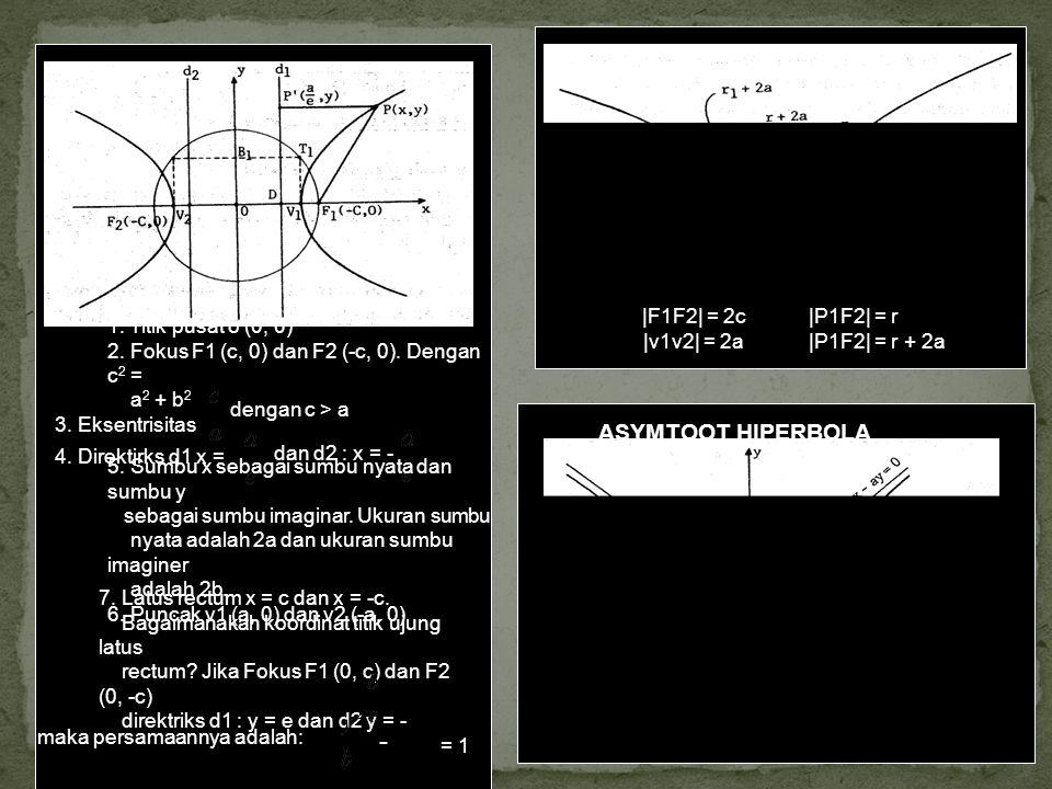 1. Titik pusat o (0, 0) 2. Fokus F1 (c, 0) dan F2 (-c, 0). Dengan c 2 = a 2 + b 2 3. Eksentrisitas dengan c > a 4. Direktirks d1 x = dan d2 : x = - 5.