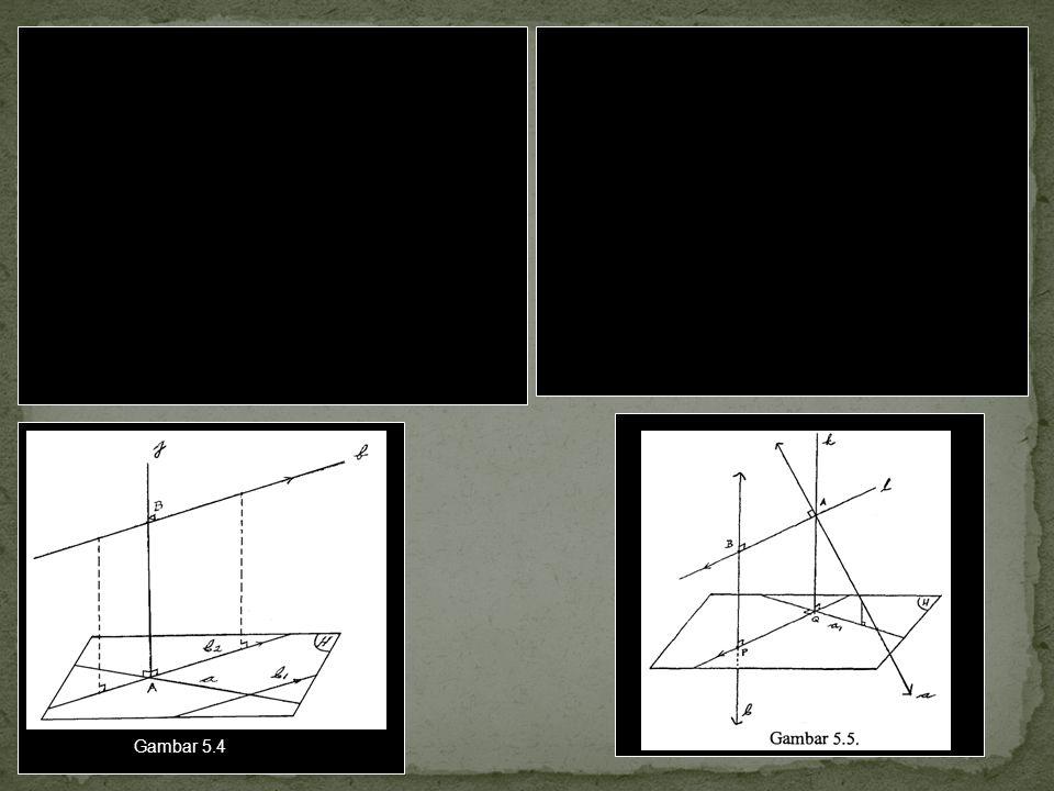 Dua cara atau langkah untuk menentukan jarak antara dua garis a dan b yang s bersilangan. Cara I 1.Membuat garis b 1 sejajar b yang memotong garis a.