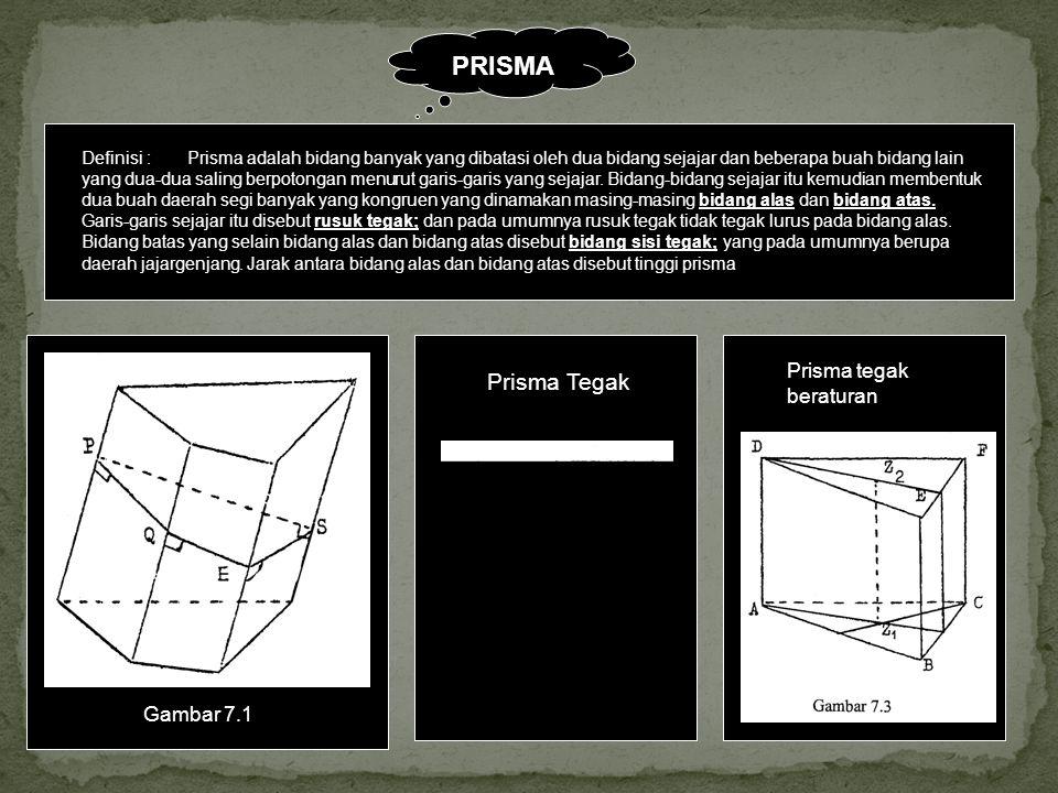 PRISMA Definisi :Prisma adalah bidang banyak yang dibatasi oleh dua bidang sejajar dan beberapa buah bidang lain yang dua-dua saling berpotongan menur
