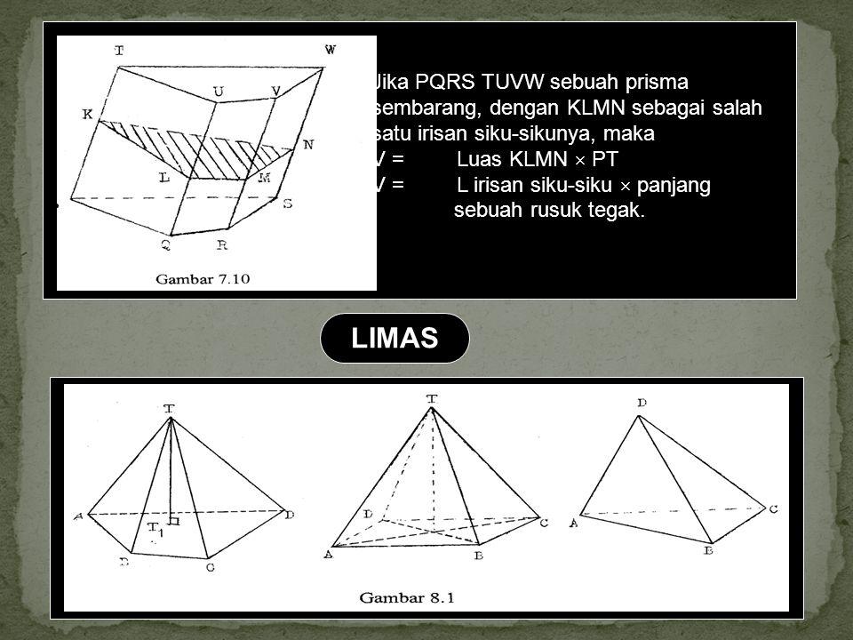 Jika PQRS TUVW sebuah prisma sembarang, dengan KLMN sebagai salah satu irisan siku-sikunya, maka V =Luas KLMN  PT V =L irisan siku-siku  panjang seb