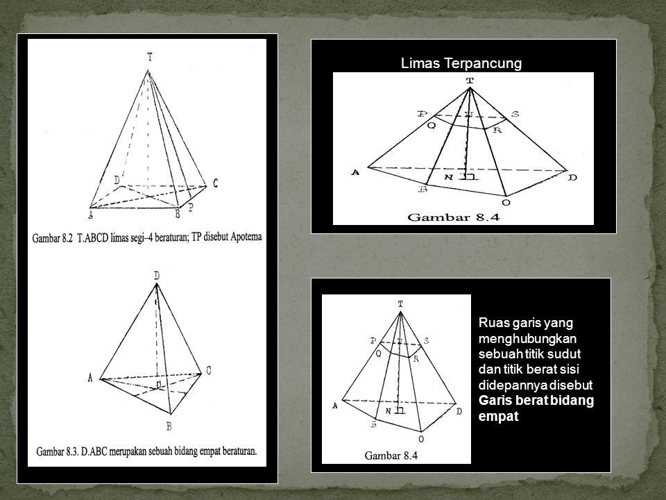 Limas Terpancung Ruas garis yang menghubungkan sebuah titik sudut dan titik berat sisi didepannya disebut Garis berat bidang empat