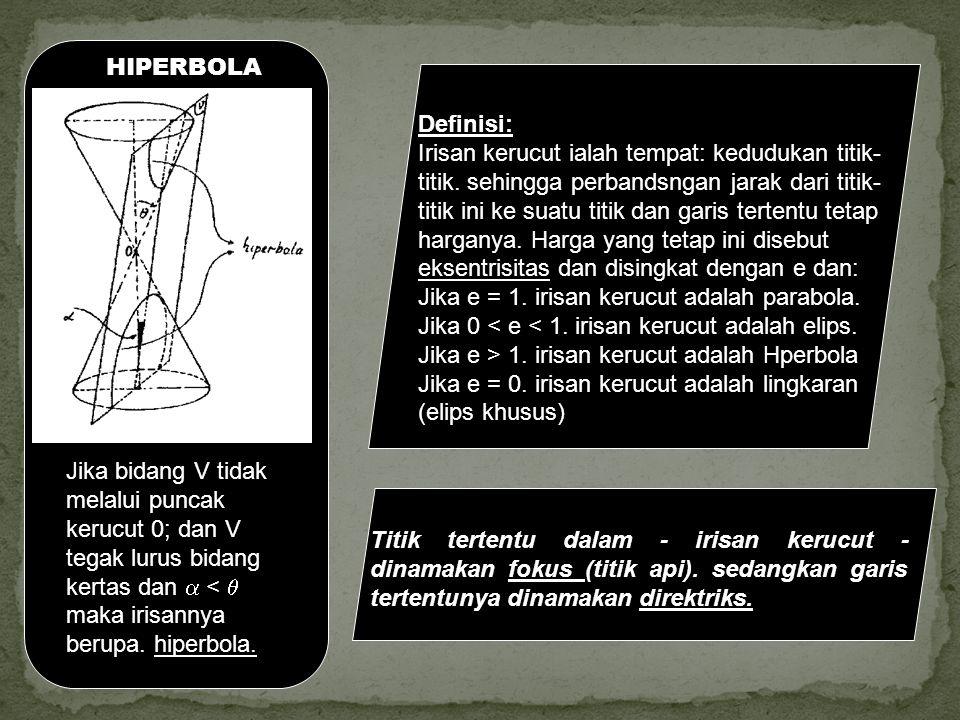 PARABOLA Parabola adalah tempat kedudukan titik-titik yang jaraknya terhadap fokus sama dengan jaraknya terhadap direktriks.