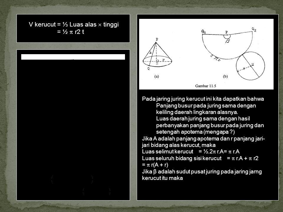 V kerucut= ⅓ Luas alas  tinggi = ½  r2 t V limas terpancung = ⅓ t (a + b + Yang jika: R l menyatakan panjang jari-jari bidang alas kerucut terpancun