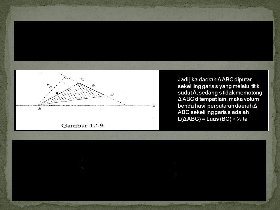 Dalil: Volum benda yang terjadi karena perputaran sebuah segitiga dengan sumbu perputaran sebuah garis yang melalui sebuah titik sudut dan terletak se