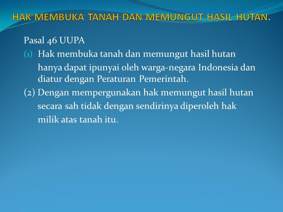 Pasal 46 UUPA (1) Hak membuka tanah dan memungut hasil hutan hanya dapat ipunyai oleh warga-negara Indonesia dan diatur dengan Peraturan Pemerintah. (
