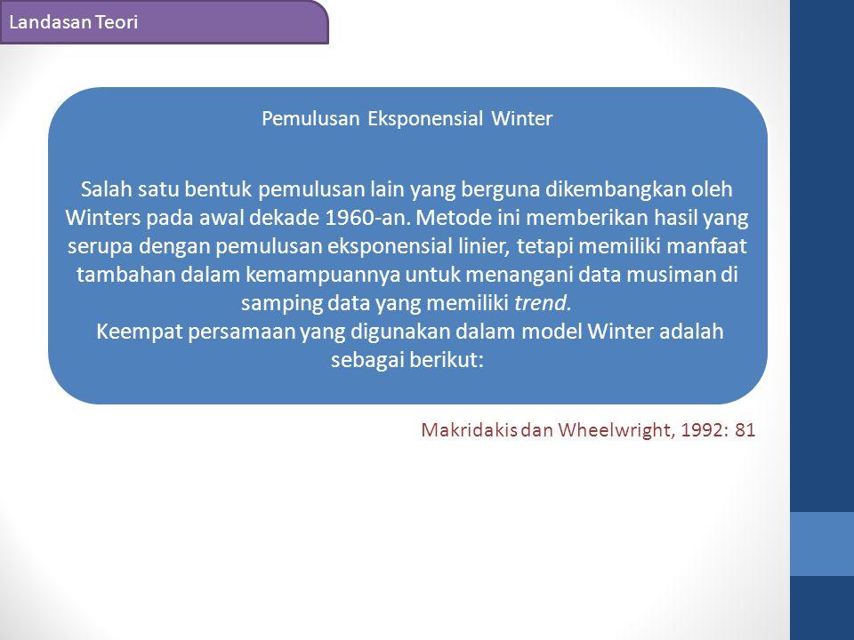 Landasan Teori Pemulusan Eksponensial Winter Salah satu bentuk pemulusan lain yang berguna dikembangkan oleh Winters pada awal dekade 1960-an. Metode