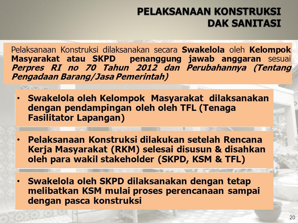 20 PELAKSANAAN KONSTRUKSI DAK SANITASI Pelaksanaan Konstruksi dilakukan setelah Rencana Kerja Masyarakat (RKM) selesai disusun & disahkan oleh para wa