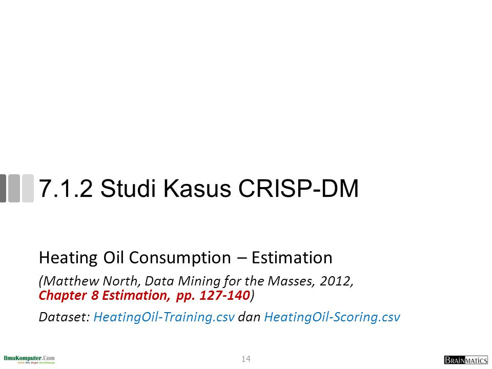 7.1.2 Studi Kasus CRISP-DM Heating Oil Consumption – Estimation (Matthew North, Data Mining for the Masses, 2012, Chapter 8 Estimation, pp. 127-140) D