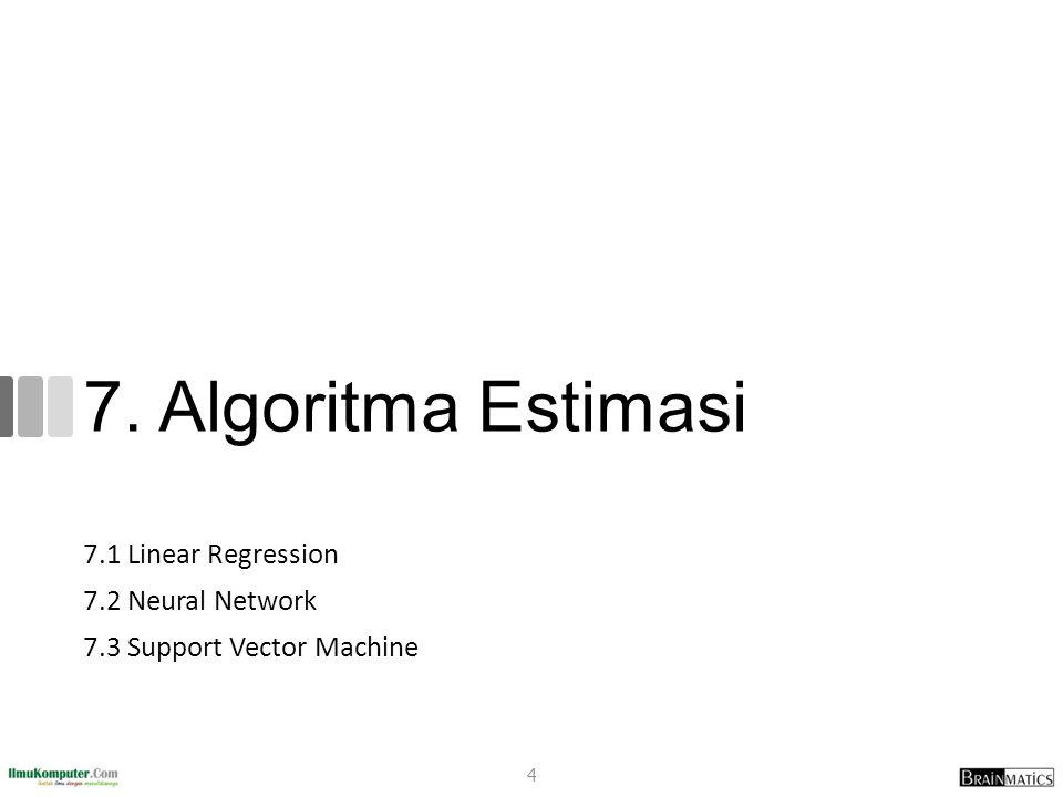7.1 Linear Regression 7.2 Neural Network 7.3 Support Vector Machine 4