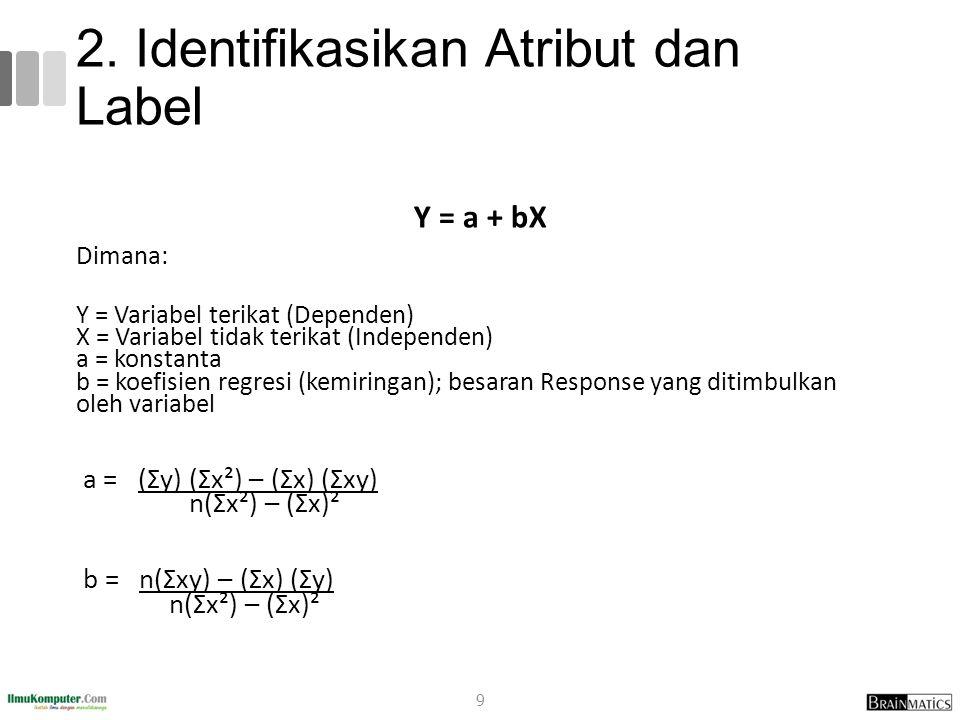 2. Identifikasikan Atribut dan Label Y = a + bX Dimana: Y = Variabel terikat (Dependen) X = Variabel tidak terikat (Independen) a = konstanta b = koef