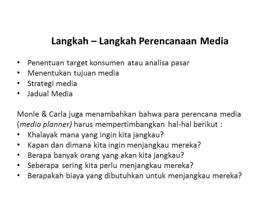 Langkah – Langkah Perencanaan Media Penentuan target konsumen atau analisa pasar Menentukan tujuan media Strategi media Jadual Media Monle & Carla jug