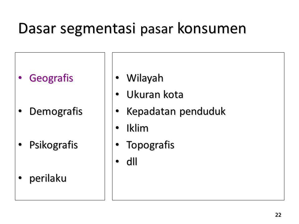 22 Dasar segmentasi pasar konsumen Geografis Geografis Demografis Demografis Psikografis Psikografis perilaku perilaku Wilayah Wilayah Ukuran kota Uku