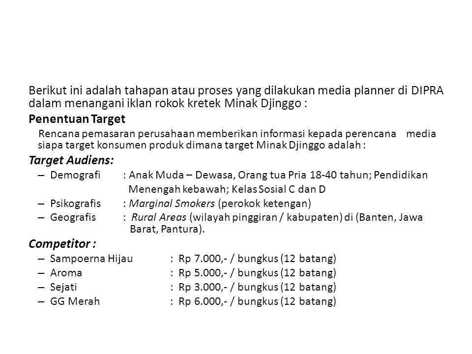 Berikut ini adalah tahapan atau proses yang dilakukan media planner di DIPRA dalam menangani iklan rokok kretek Minak Djinggo : Penentuan Target Renca