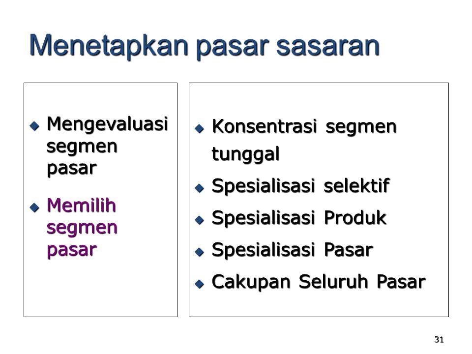 31 Menetapkan pasar sasaran  Mengevaluasi segmen pasar  Memilih segmen pasar  Konsentrasi segmen tunggal  Spesialisasi selektif  Spesialisasi Pro