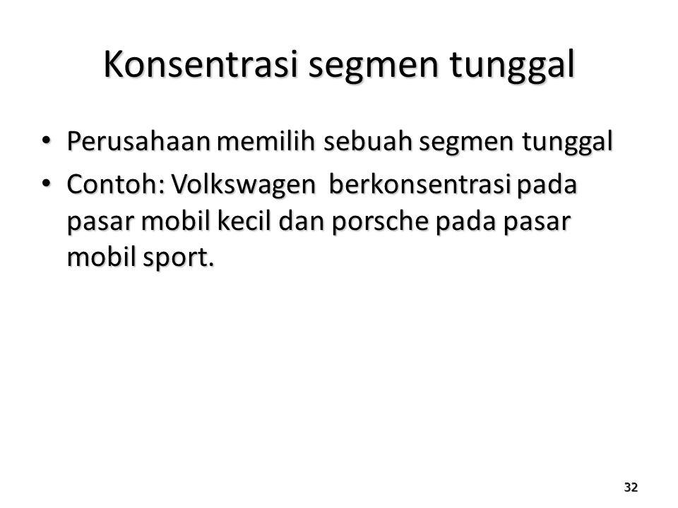 32 Konsentrasi segmen tunggal Perusahaan memilih sebuah segmen tunggal Perusahaan memilih sebuah segmen tunggal Contoh: Volkswagen berkonsentrasi pada