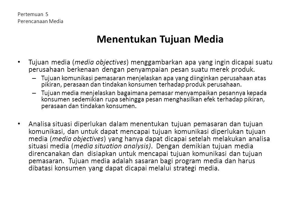 Pertemuan 5 Perencanaan Media Menentukan Tujuan Media Tujuan media (media objectives) menggambarkan apa yang ingin dicapai suatu perusahaan berkenaan