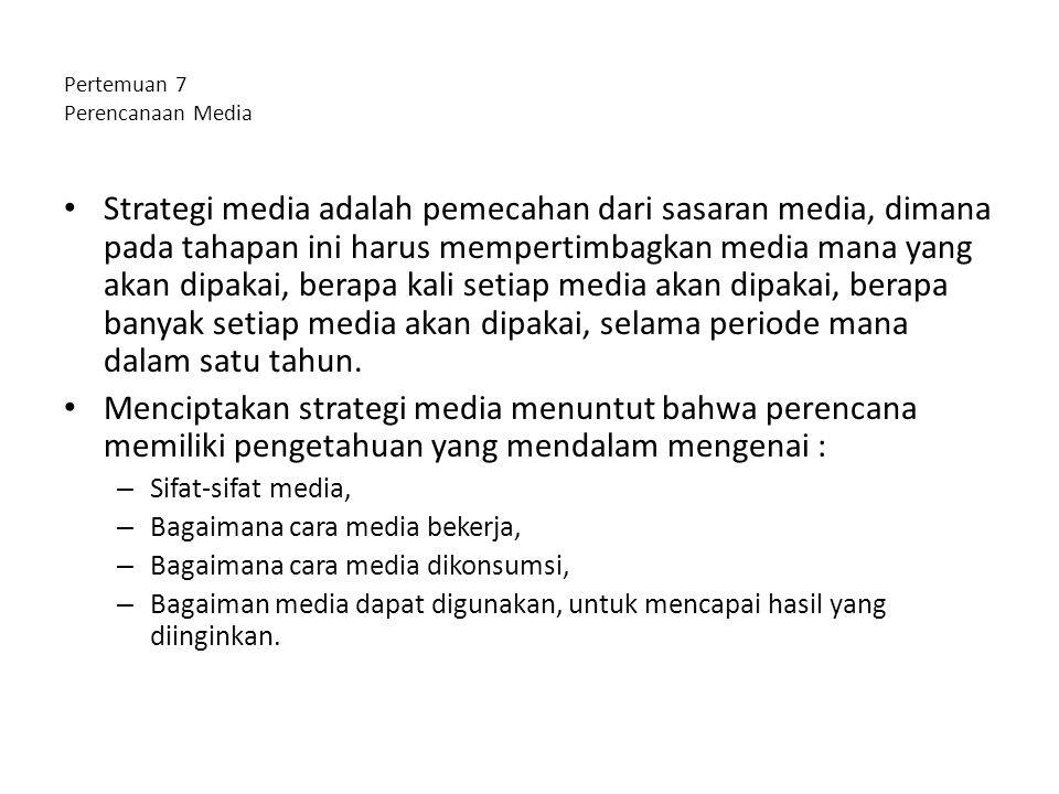 Pertemuan 7 Perencanaan Media Strategi media adalah pemecahan dari sasaran media, dimana pada tahapan ini harus mempertimbagkan media mana yang akan d