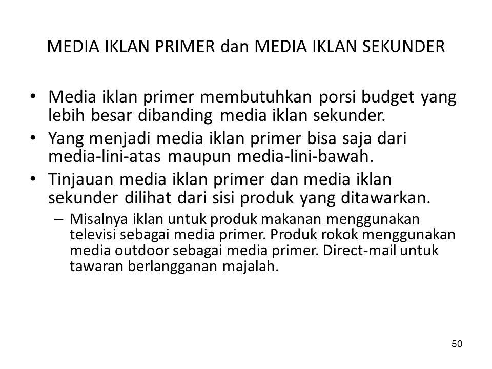 50 MEDIA IKLAN PRIMER dan MEDIA IKLAN SEKUNDER Media iklan primer membutuhkan porsi budget yang lebih besar dibanding media iklan sekunder. Yang menja