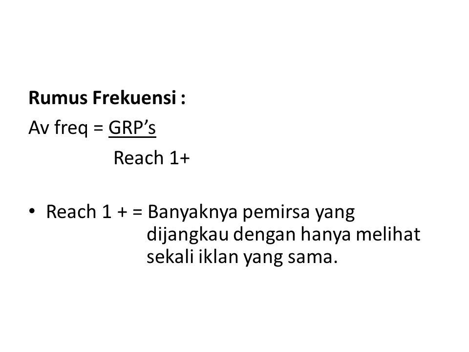 Rumus Frekuensi : Av freq = GRP's Reach 1+ Reach 1 + = Banyaknya pemirsa yang dijangkau dengan hanya melihat sekali iklan yang sama.