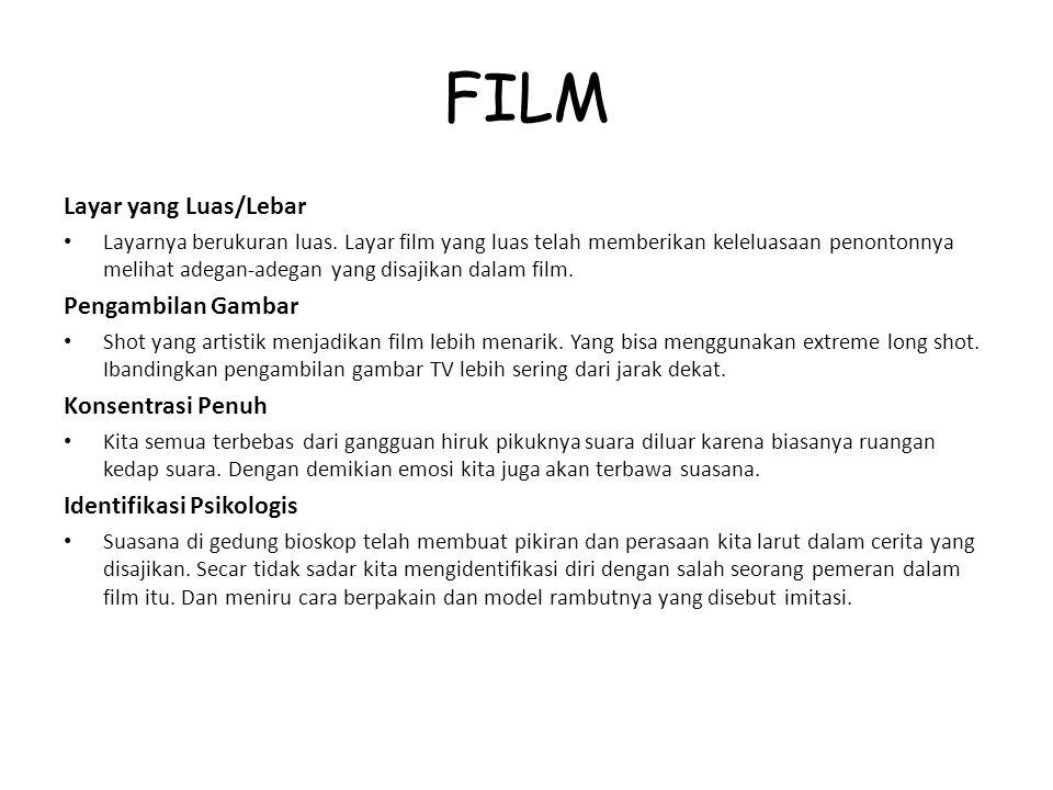 FILM Layar yang Luas/Lebar Layarnya berukuran luas. Layar film yang luas telah memberikan keleluasaan penontonnya melihat adegan-adegan yang disajikan