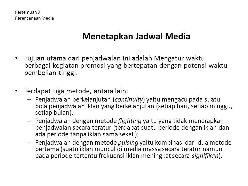Pertemuan 9 Perencanaan Media Menetapkan Jadwal Media Tujuan utama dari penjadwalan ini adalah Mengatur waktu berbagai kegiatan promosi yang bertepata