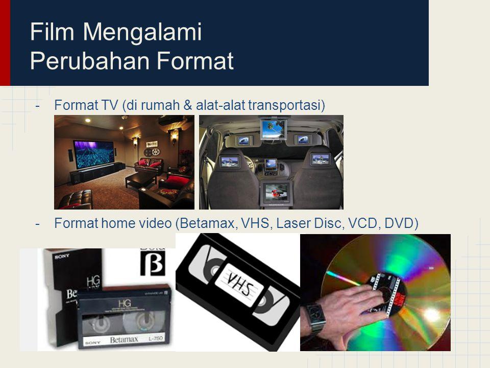 Film Mengalami Perubahan Format -Format TV (di rumah & alat-alat transportasi) -Format home video (Betamax, VHS, Laser Disc, VCD, DVD)