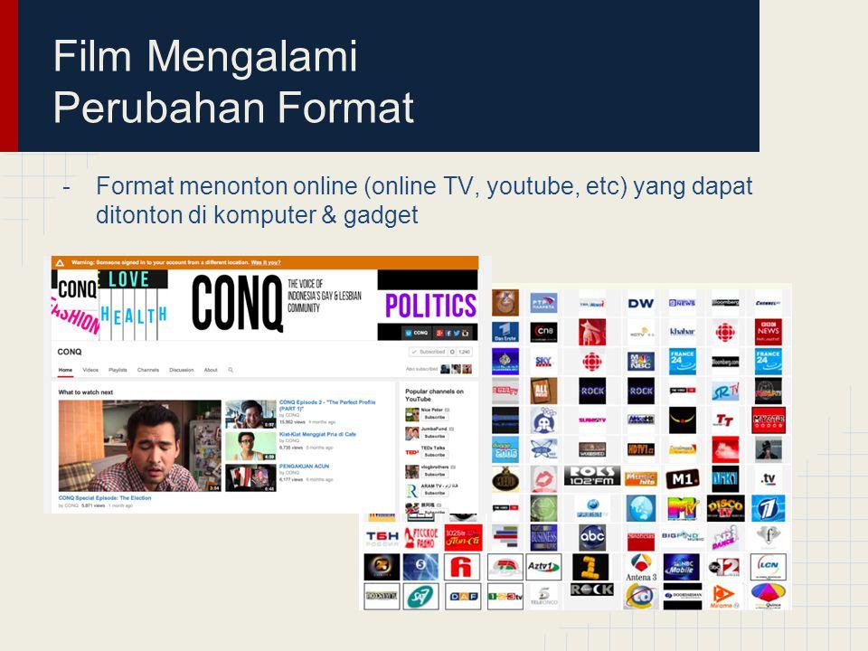 Film Mengalami Perubahan Format -Format menonton online (online TV, youtube, etc) yang dapat ditonton di komputer & gadget