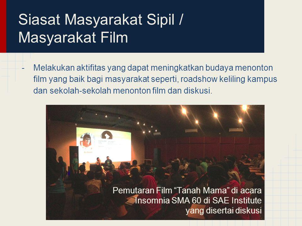 Siasat Masyarakat Sipil / Masyarakat Film -Melakukan aktifitas yang dapat meningkatkan budaya menonton film yang baik bagi masyarakat seperti, roadshow keliling kampus dan sekolah-sekolah menonton film dan diskusi.