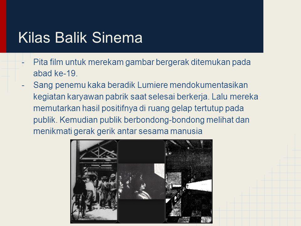 Kilas Balik Sinema -Pita film untuk merekam gambar bergerak ditemukan pada abad ke-19. -Sang penemu kaka beradik Lumiere mendokumentasikan kegiatan ka